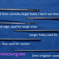 Different liposuction cannulas.