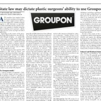 A newspaper article about groupon and state laws about plastic surgery.