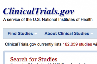 A screenshot of clinicaltrials.gov
