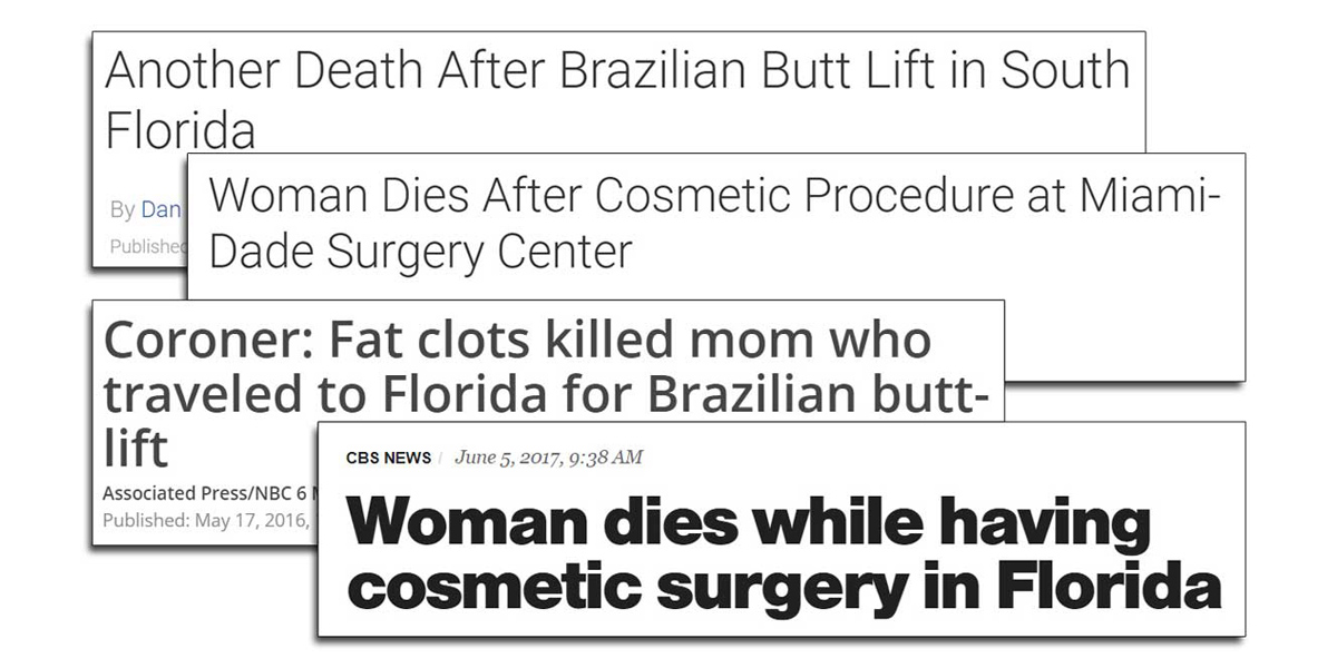 screenshots of four recent headlines from articles about patients dying after brazilian butt lift surgery