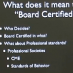 "A list of points explaining what ""Board certified"" means."