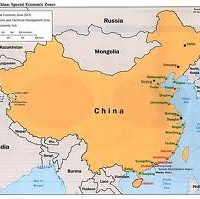 A map, showing the country of China.