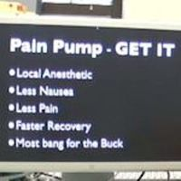 A photo of a computer screen showing a list of advantages of using pain pumps.