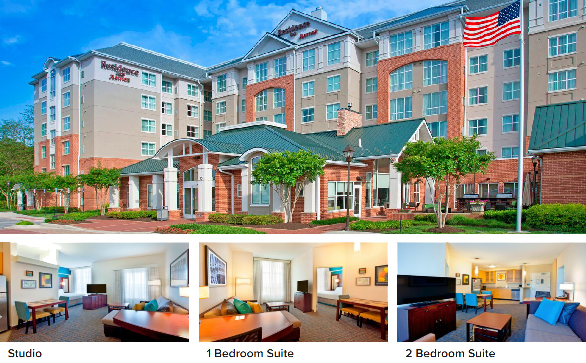 photo collage of the Residence Inn including the outside of the hotel and 3 different guest rooms