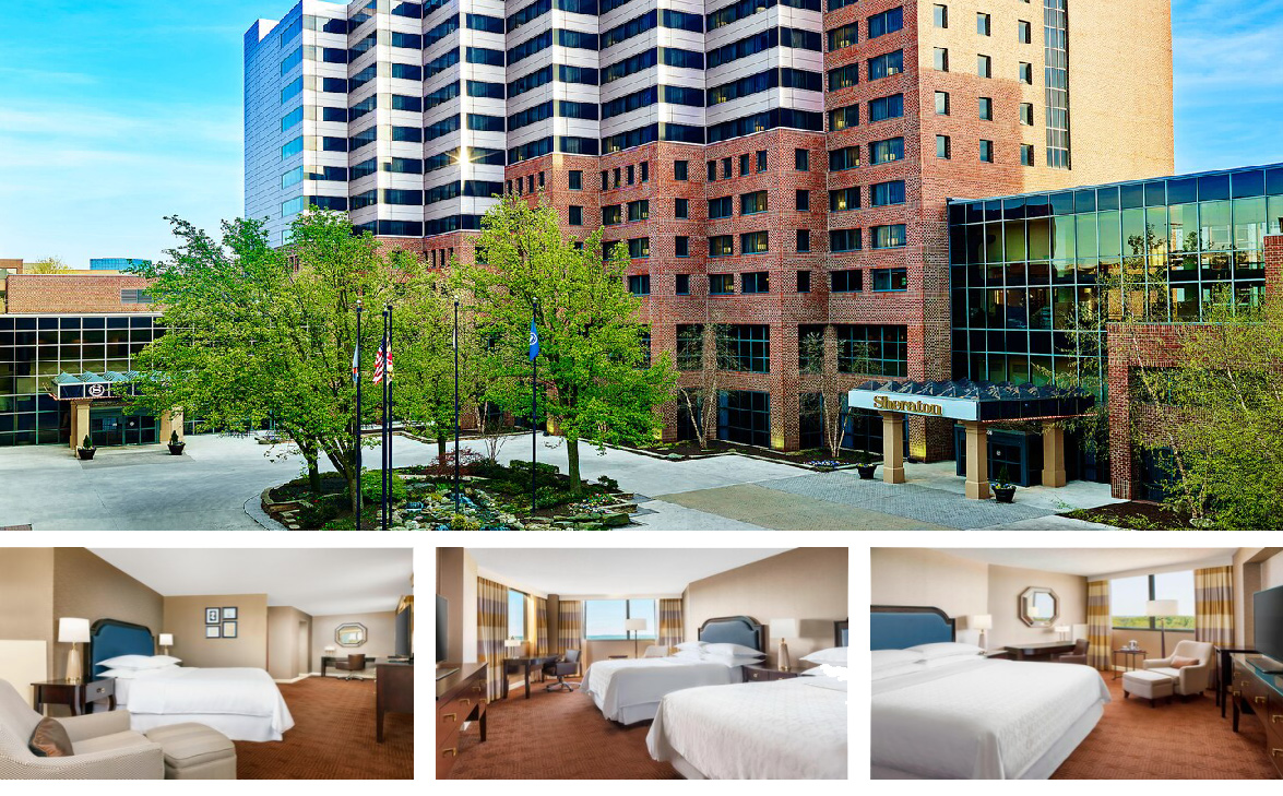 photo collage of the Sheraton Baltimore North including the outside of the hotel and 3 different guest rooms