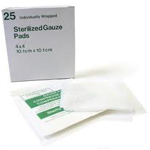 A box of sterilized medical gauzes.